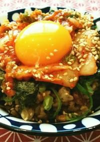 石焼きビビンバ風納豆オートミール(ご飯)