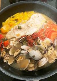 白身魚と具沢山、簡単アクアパッツァ