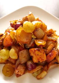 片栗粉不要☆春キャベツと葡萄の焼き酢鶏