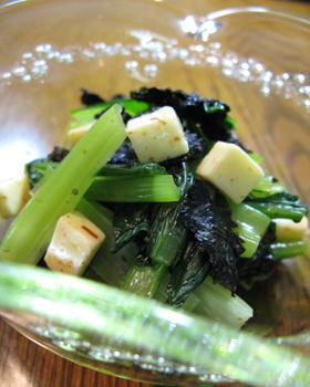 小松菜おひたし:チーズと海苔風味