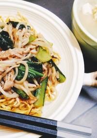 小松菜と豚肉のあんかけ焼そばの献立