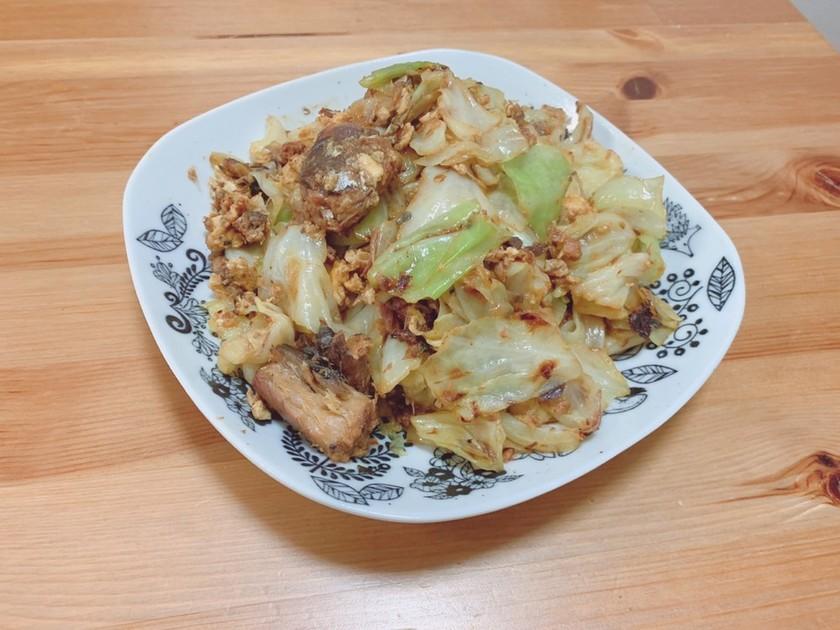 10分で☆さば味噌缶とキャベツと卵炒め