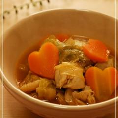 鶏肉と野菜の具沢山トマトスープ