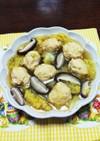 鶏挽肉のスープ(春キャベツ、しいたけ)