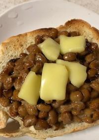 納豆と「ごはんですよ」のトースト