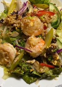 タイ風春雨と海老と 卵炒りつけサラダ