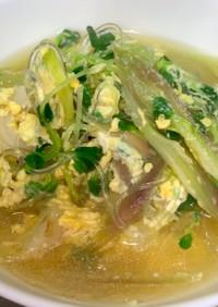 ふんわり卵とカイワレみょうがのスープ
