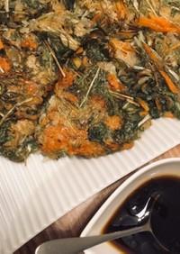 水菜とじゃこのカリカリチヂミ