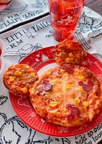 簡単♪すぐにできるミッキーサラミピザ♪