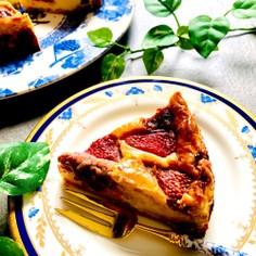 苺と粒あんのベイクドチーズケーキ