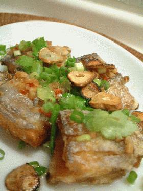 太刀魚のから揚げ ピリ辛ガーリック風味