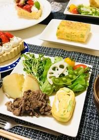 バランスメニュー、夕飯の献立牛肉メイン
