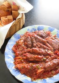 スパゲティーのハンバーグ包みトマト煮込み