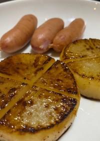 男料理 大根ステーキ 醤油バター焼き