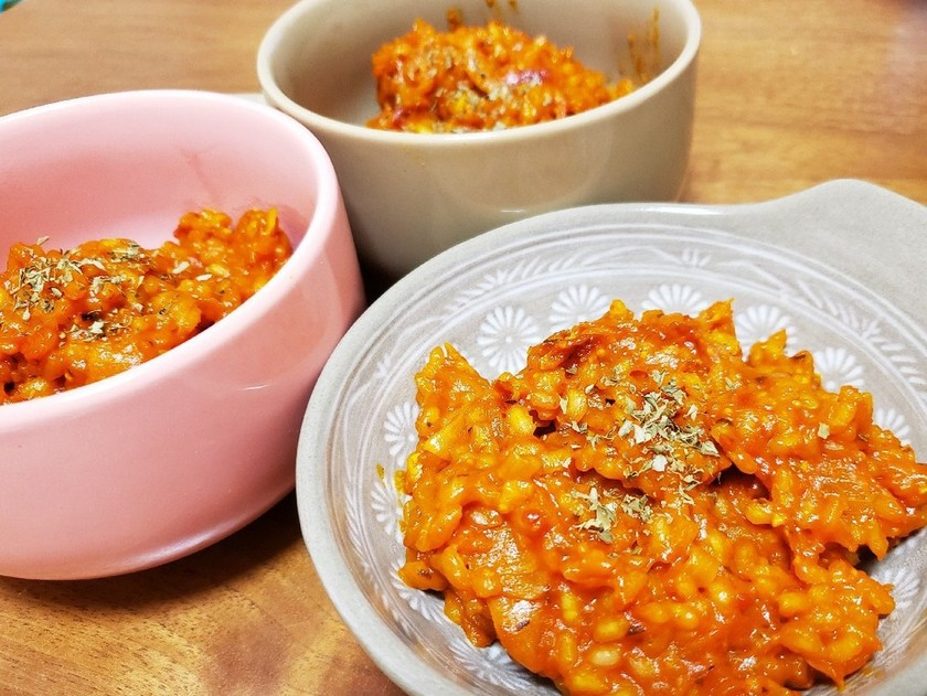 野菜ジュースで!濃厚トマトチーズリゾット