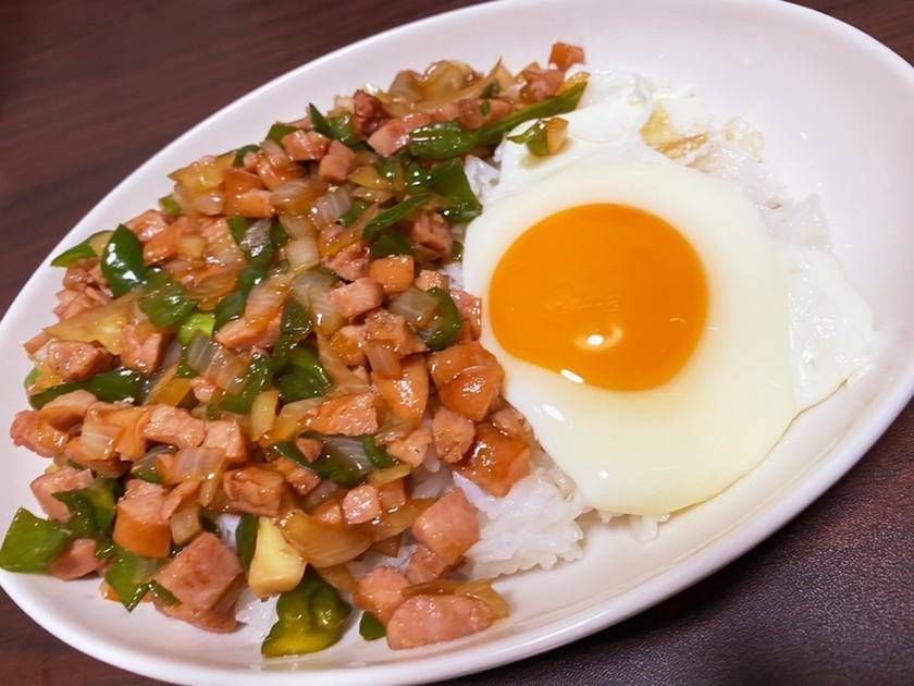 男料理 ウインナーand野菜のお手軽丼