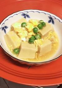 ふんわり高野豆腐とエンドウ豆の卵とじ