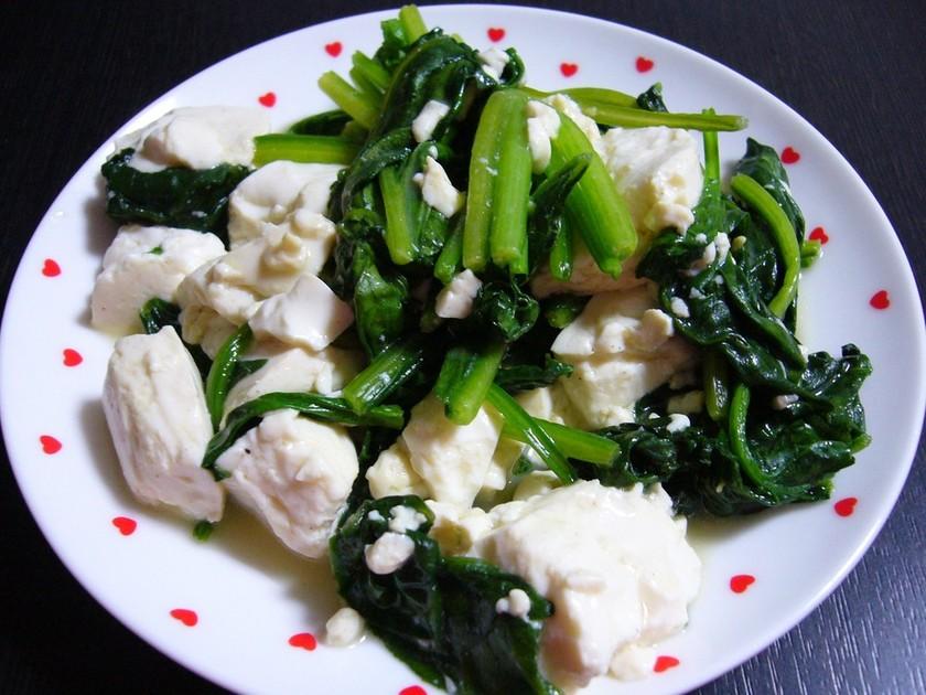 ✿ฺ簡単♪♪ほうれん草と豆腐だけ✿ฺ