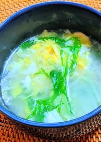 水菜とふわふわ卵のスープ