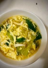 チンゲン菜とシメジの中華卵スープ