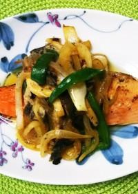 鮭とたっぷり野菜のポン酢炒め