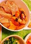 ブリのだし醤油&サーモンの塩昆布漬け丼
