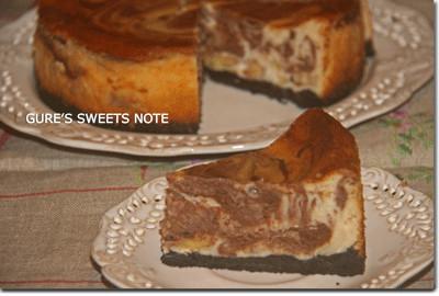 バナナのチョコマーブルチーズケーキ