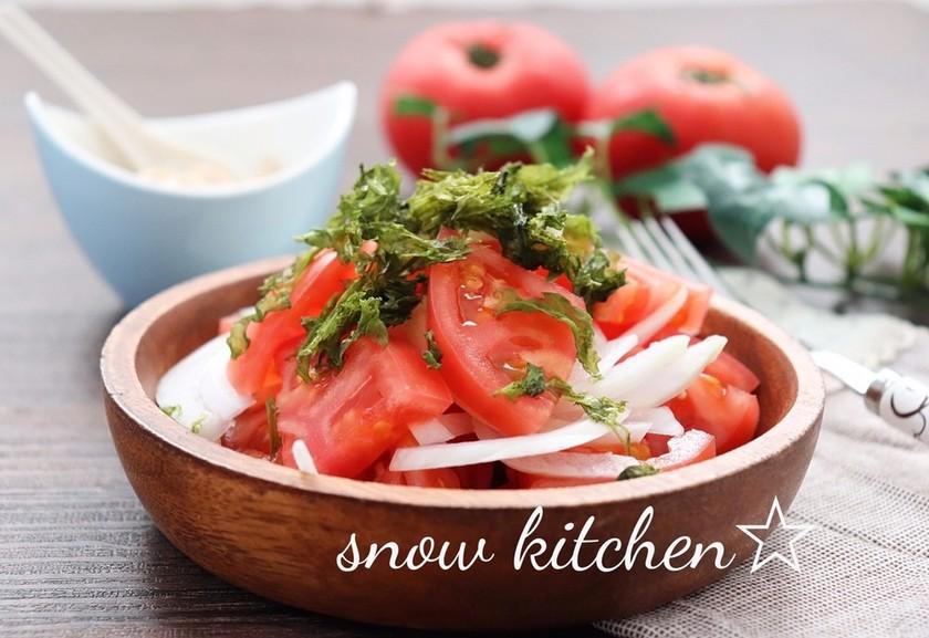トマトと新たまねぎの海苔サラダ
