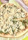 磯の香り、じゃこと水菜のピザ