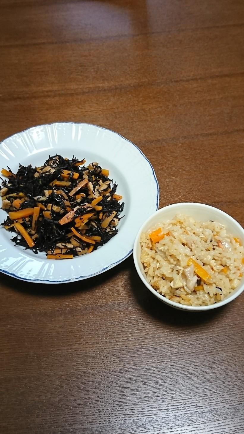 切餅中華おこわ&ひじき煮物+離乳食完了期