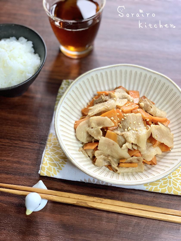 *材料4つ*豚バラとにんじんの麺つゆ炒め