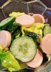 春キャベツとお魚ソーセージの和風サラダ