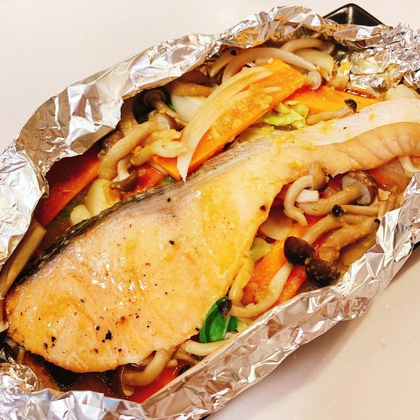 簡単♡トースターで鮭のちゃんちゃん焼き