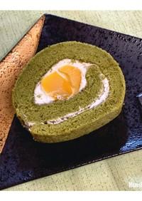 抹茶と栗のロールケーキ☆