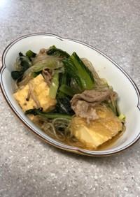 小松菜・厚揚げ・豚肉・春雨・しめじの煮物