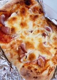 中力粉使用♡魚焼きグリルで時短ピザ