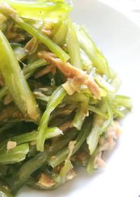 茎わかめサラダのツナガーリック和え