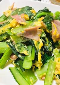 簡単・小松菜とベーコンと卵のバター炒め