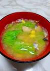 鯖の水煮とレタスの味噌汁