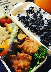 唐揚げと野菜の天ぷら弁当♪