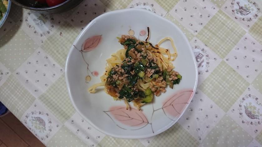 休校レシピ24  小松菜あんかけ焼きそば