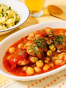 鶏ももとひよこ豆のトマト煮込み