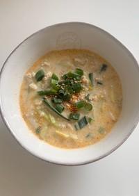 豆乳坦々風スープ
