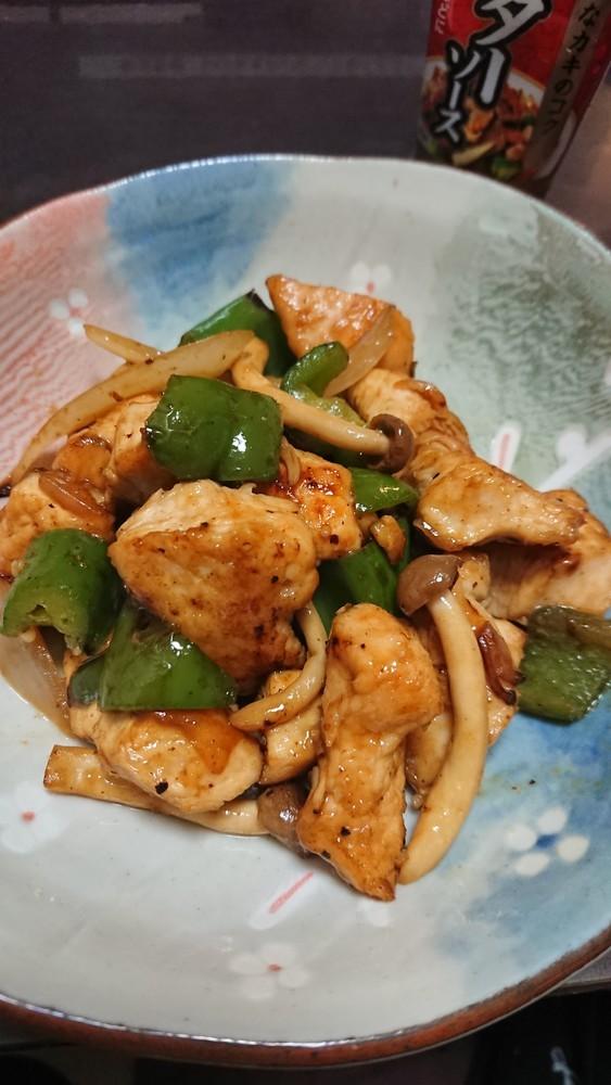 鶏胸肉と野菜のオイスター炒め