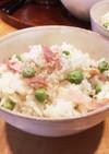 グリーンピースとベーコンの炊き込み豆ご飯