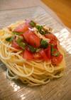 *トマトとムネ肉の冷製パスタ*