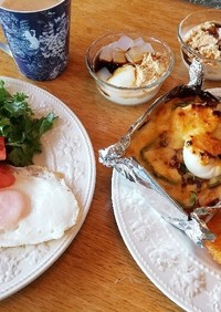 朝ごはん!惣菜トースト