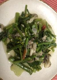 菜の花とアスパラ、レタス、サバの炒め物