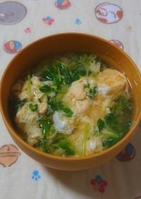 豆苗とたまごの味噌汁
