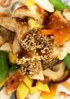 全てレンジ蜂蜜ごま味噌味竹輪青椒肉絲風